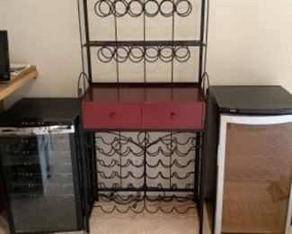 Chef's rack and two wine refrigerators.