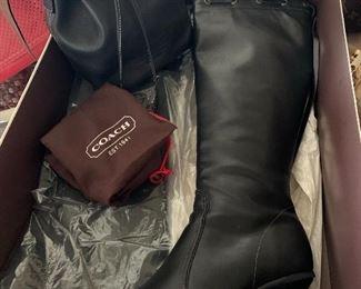 Coach Leather Handbag & Size 10 Boots
