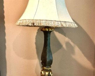 PAIR CELEDON/GOLD LAMPS