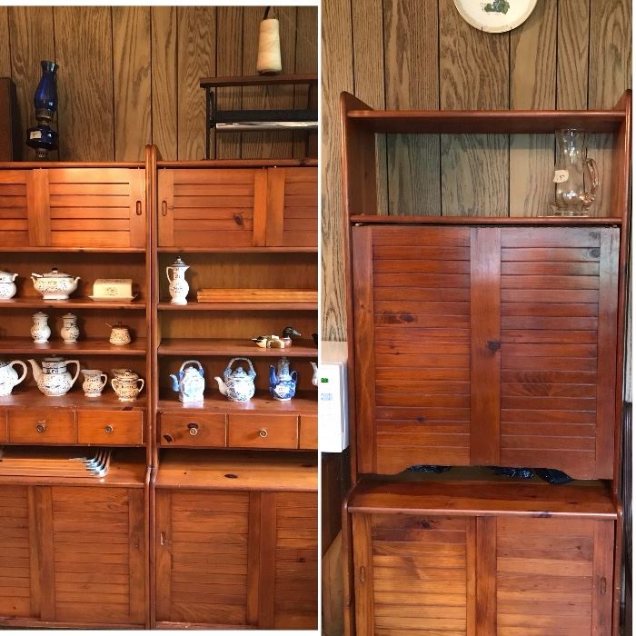 Three sections of Yield House cabinets.  The right section has a table that folds down.