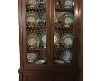 China cabinet contains set of 41 pieces -  Fransiscan Palomar light green china, iridescent crystal (unmarked), and goldtone coffee pot, creme and sugar.