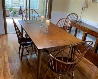 Hand made farm table with six hand made Windsor chairs