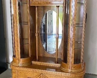 """Antique Art-Deco Burl Wood & Mirrored Curio Display Cabinet with Curved Glass-Paneled Keyed Doors with Glass Shelves (70""""H x 44W x 16.5""""D) - EXCELLENT CONDITION"""