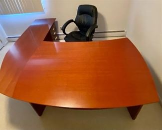 """2-Piece Polished Wood Bow-Front L-Shaped Executive Desk w/Floating Top and 3-Drawer Filing Cabinet w/Key (Comes with Matching Wood Armchair w/Black Fabric Cushion and Black Leather Cushioned, Armed Rolling Desk Chair with Adjustable Seat) - EXCELLENT CONDITION (Front Piece - 73""""L x 20.75""""D x 28""""H  //// Side Piece - 60""""L x 36""""D x 28""""H //// Filing Cabinet - 16""""W x 18""""D x 26""""H)"""