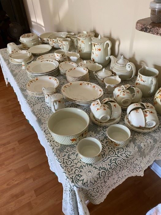 """, vintage set of dishes and serving pieces of Superior Hall Quality Dinnerware """"Autumn Leaf"""" - Mary Dunbar Jewel"""