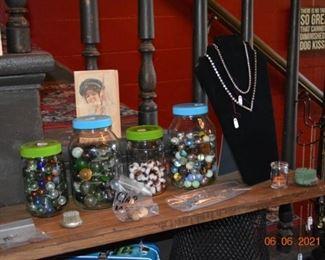 Antique marbles, vintage jewelry