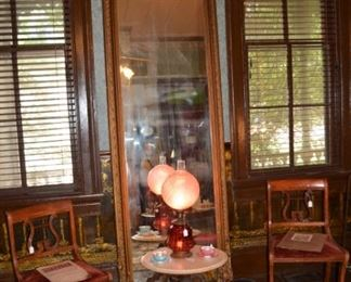 Antique Pier Mirror - marble top victorian side table - harp back side chairs - Fenton lamp