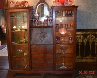 Tiffin - Kings Crown - Cranberry - Waterford - Vaseline glass - Antique Secretary with display cabinets