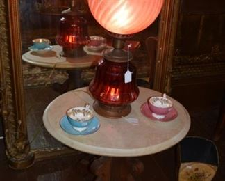 Fenton Lamp - Antique Marble top Victorian side table