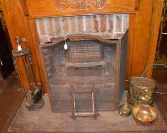 Brass fireplace screen- fireplace set- antique gas heater