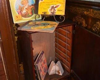 Vintage vinyl albums/ books- Disney Vintage record cabinet