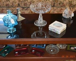Vintage cut glass- Wilton candle sticks- glassware- vintage ash trays