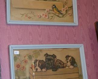 Pair of vintage wall prints