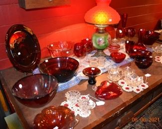 Vintage Cranberry glass and antique lamp