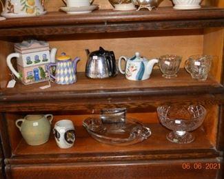 Tea pots and glassware