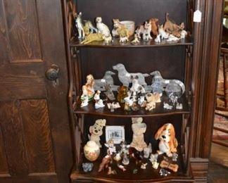 Vintage display shelf- dog figurine collection