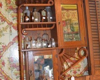Antique bottles - antique oak shelf