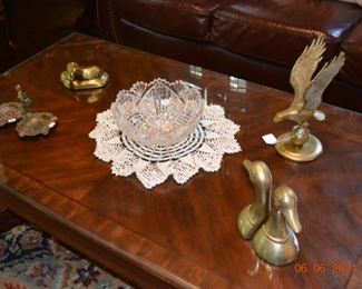 Vintage cut glass and brass