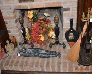 Asian Hindu Decor- Brass and Iron Fire dogs and fireplace set