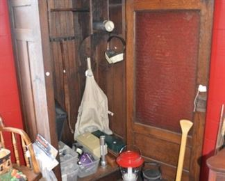 Antique armoire with glass door- hunting supplies