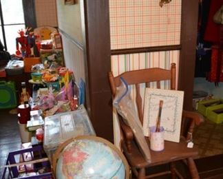 Vintage globe, high chair and toys