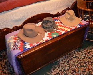 Vintage cedar chest- handmade quilt