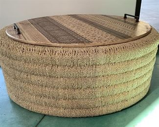 Wicker Ottoman/Table, African Design Tray
