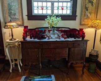 ANTIQUE QUEEN ANN SERVER, STAINED GLASS WINDOWS, PLANT STAND