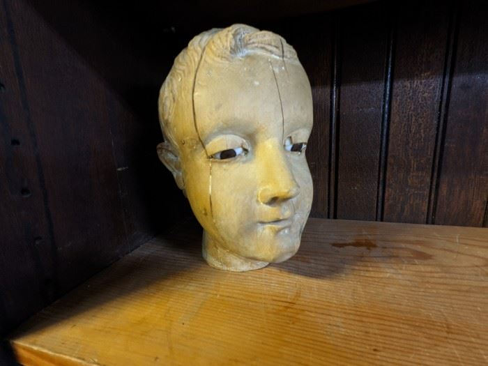 ANTIQUE CARVED WOOD HEAD with GLASS EYES