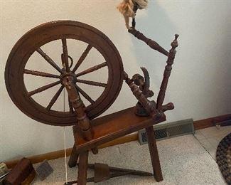 Vintage Wooden Spinning Wheel