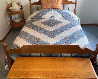 Full Size Bed w/ Posturepedic Mattress Set, Lane Cedar Chest, Dry Sink with Pitcher & Bowl