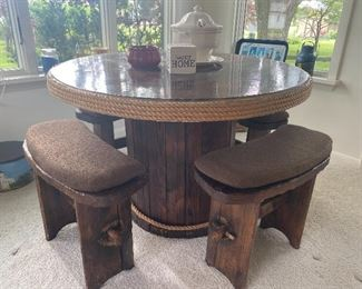 Vintage Wooden Spool Nautical Round Table w/ (4) Bench Seats...Neat!