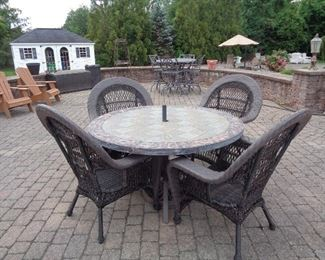 TILE TABLE, 4 WICKER CHAIRS