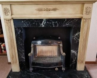 Antique Gas Fireplace with Wooden Mantle