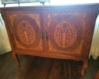 Antique Inlaid Buffet Side Table