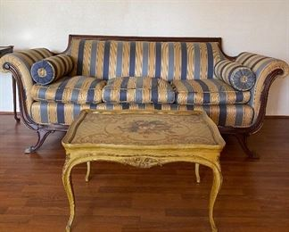 ANTIQUE DUNCAN PHYFE SOFA WITH ROLLED ARMS/ FRENCH STYLE COFFEE TABLE