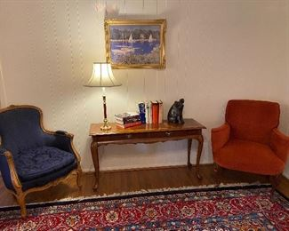 ENTRY TABLE WITH FRENCH CHAIRS /PICTURE WITH SAIL BOATS