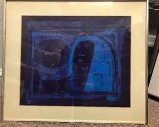 Framed batik print by Puerto Rico artist Susana Espinosa