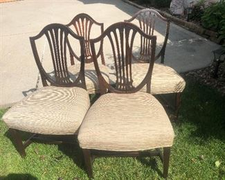 Very old! John Adam's period (ca.1780) set of four upholstered dining chairs