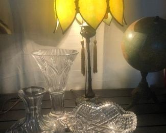 Waterford Crystal and antique lamp and globe