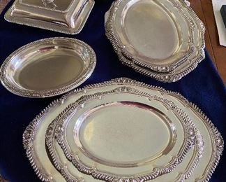 Elegant silver plate serving pieces