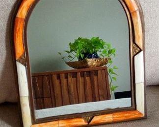Bone metal , orange  white frame Mirror from Pakistan