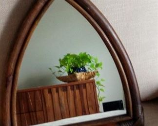 Bamboo dark paint triangle shape mirror from Indonesia