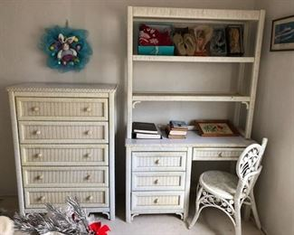 Queen Headboard, chest of drawers, desk and 2 night stands