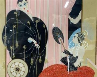 Framed ERTE Art Deco Scarf
