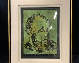 SWIETLAN KRACZYNA Signed Woodcut Portrait