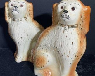 Pair Antq Staffordshire Porcelain Spaniel Figurals