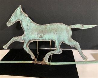 ANTIQUE COPPER HORSE WEATHERVANE, 27.5 in