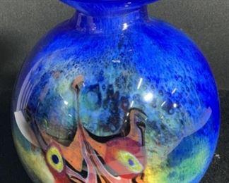 Hand Formed Cobalt Art Glass Bulb Vase