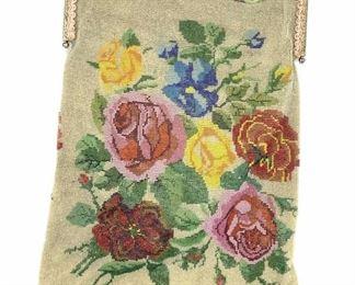 Antique Hand Beaded Floral Flapper Purse